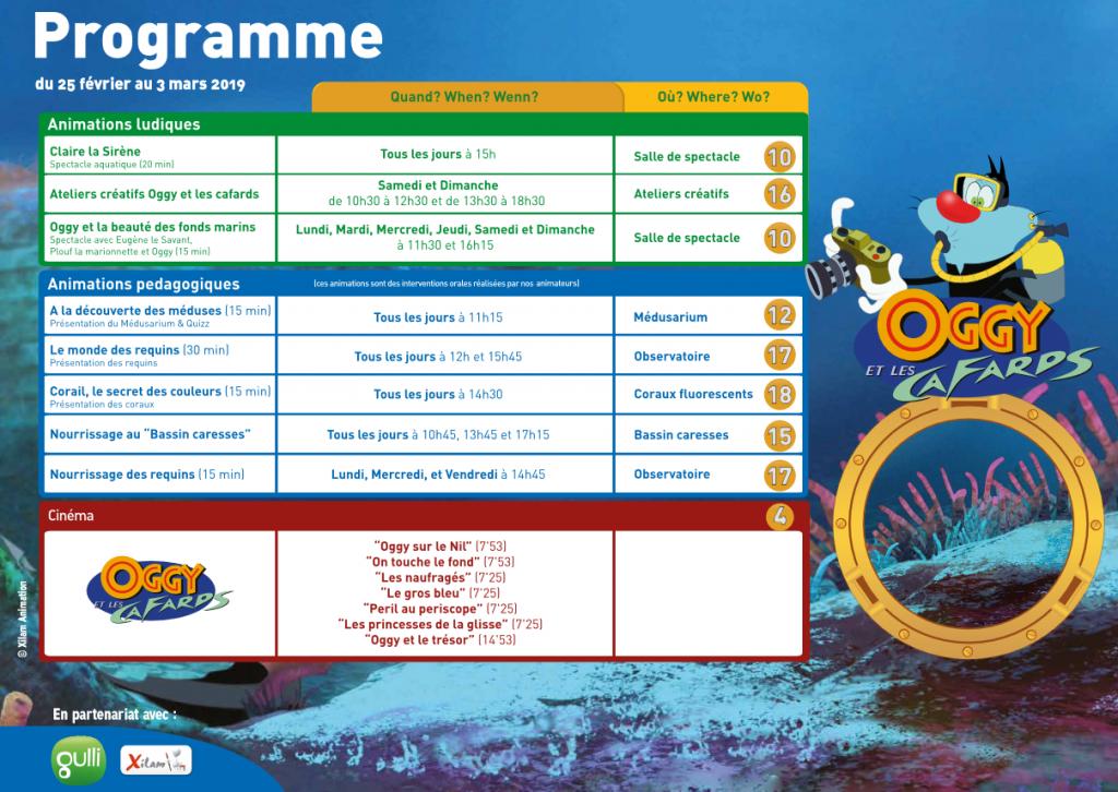 programme aquarium de paris avec l'expo Oggy et les cafards